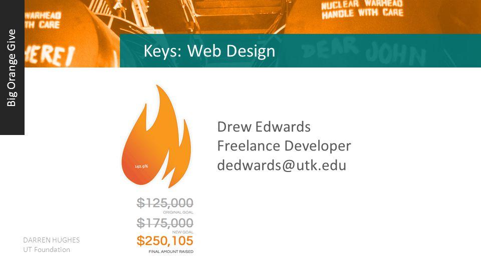 Keys: Web Design Drew Edwards Freelance Developer dedwards@utk.edu Big Orange Give DARREN HUGHES UT Foundation