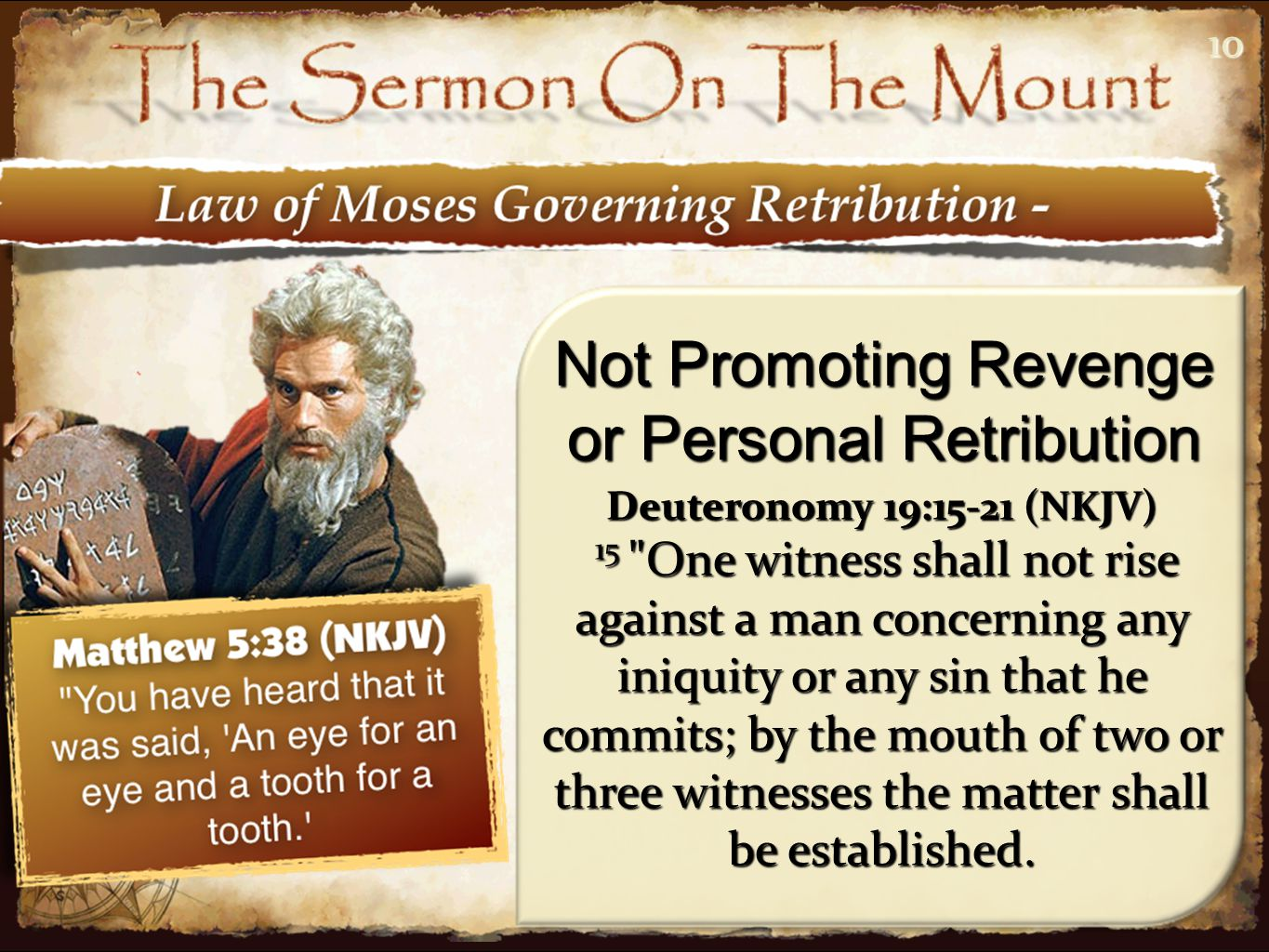 1010 Not Promoting Revenge or Personal Retribution Deuteronomy 19:15-21 (NKJV) 15 One witness shall not rise against a man concerning any iniquity or any sin that he commits; by the mouth of two or three witnesses the matter shall be established.