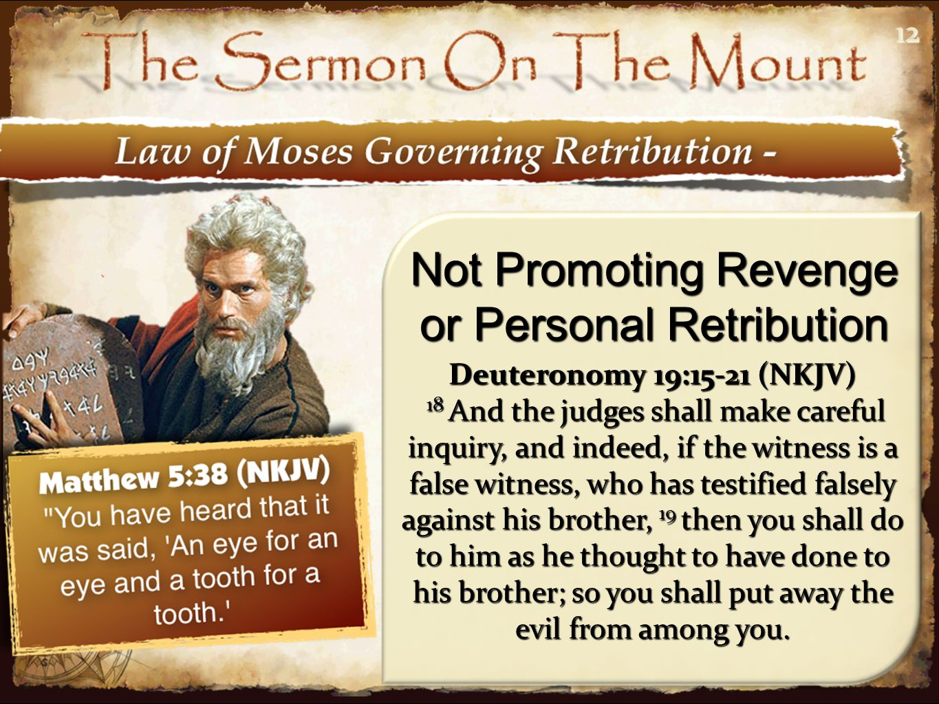 1212 Not Promoting Revenge or Personal Retribution Deuteronomy 19:15-21 (NKJV) 18 And the judges shall make careful inquiry, and indeed, if the witness is a false witness, who has testified falsely against his brother, 19 then you shall do to him as he thought to have done to his brother; so you shall put away the evil from among you.