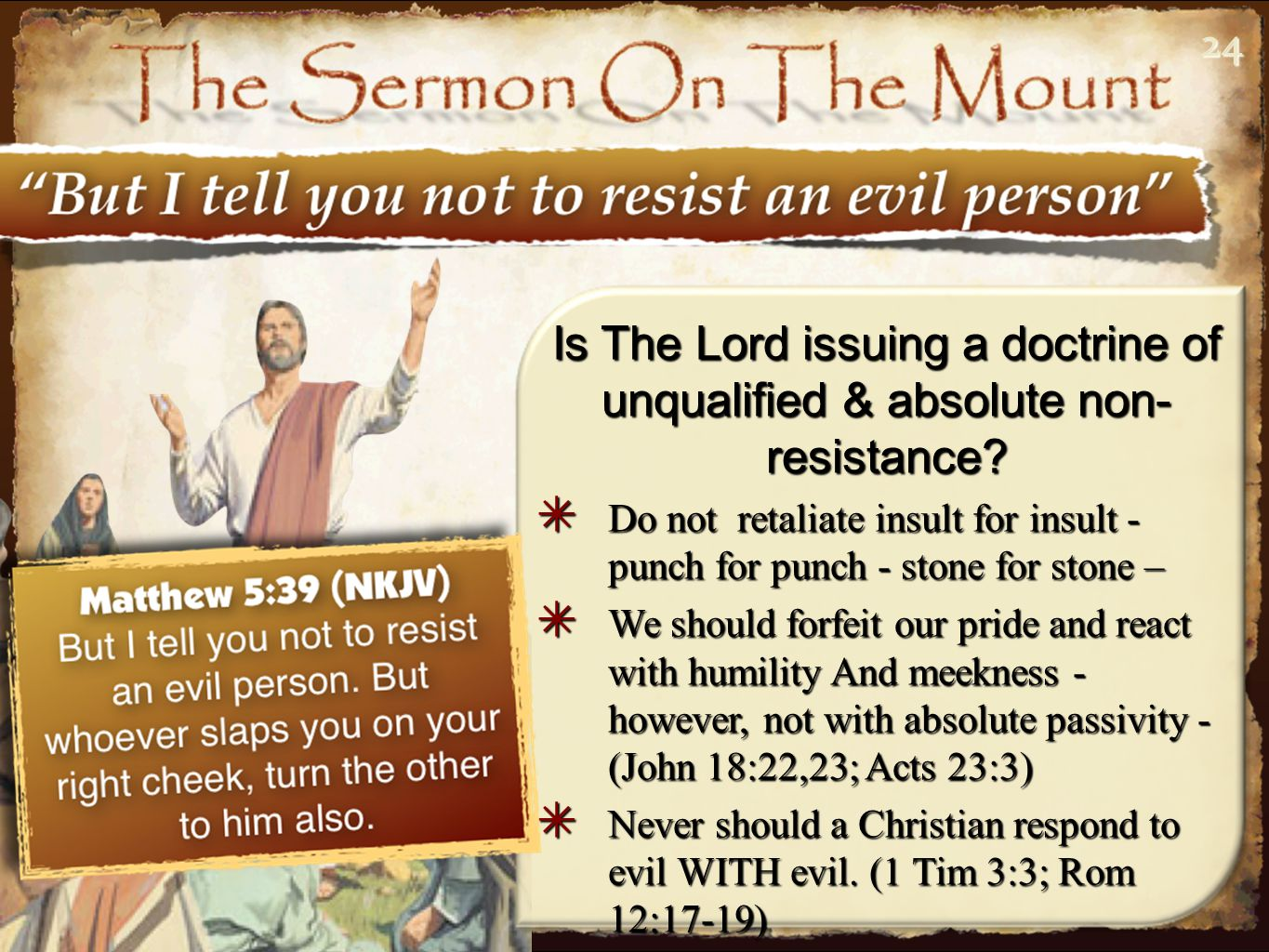 2424 Is The Lord issuing a doctrine of unqualified & absolute non- resistance.
