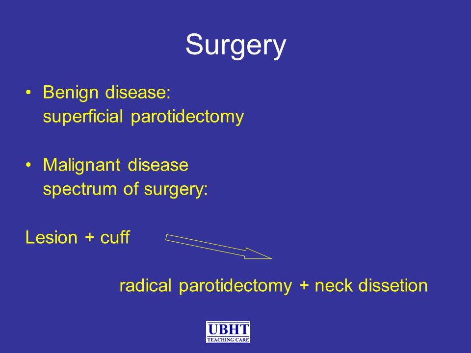 Surgery Benign disease: superficial parotidectomy Malignant disease spectrum of surgery: Lesion + cuff radical parotidectomy + neck dissetion