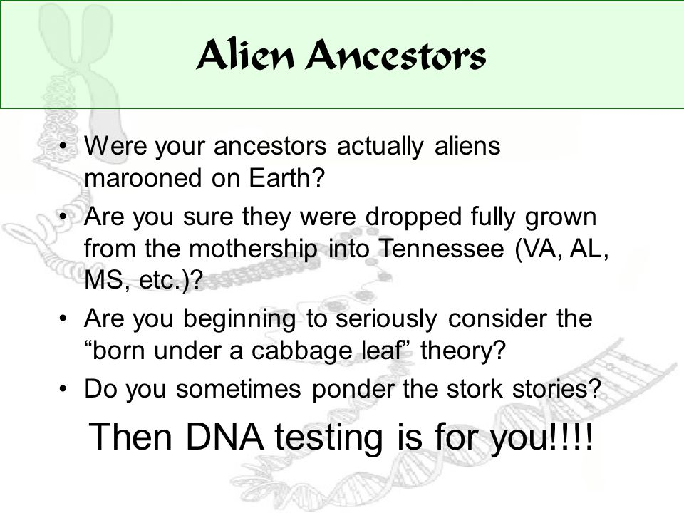 Alien Ancestors Were your ancestors actually aliens marooned on Earth.