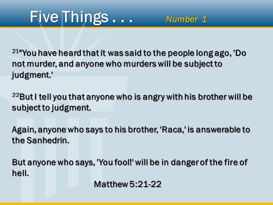MurderAngerName-calling ActionEmotionWords Five Things... Number 1