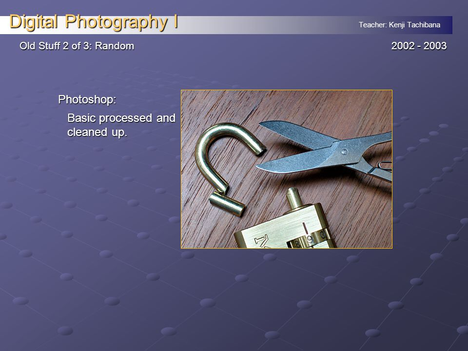 Teacher: Kenji Tachibana Digital Photography I Old Stuff 2 of 3: Random 2002 - 2003 Photoshop: Basic processed and cleaned up.