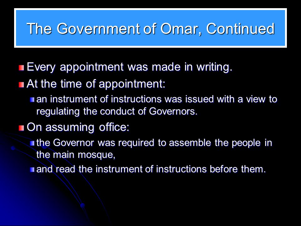 The Government of Omar, Continued Other officers at the provincial level were: 1.