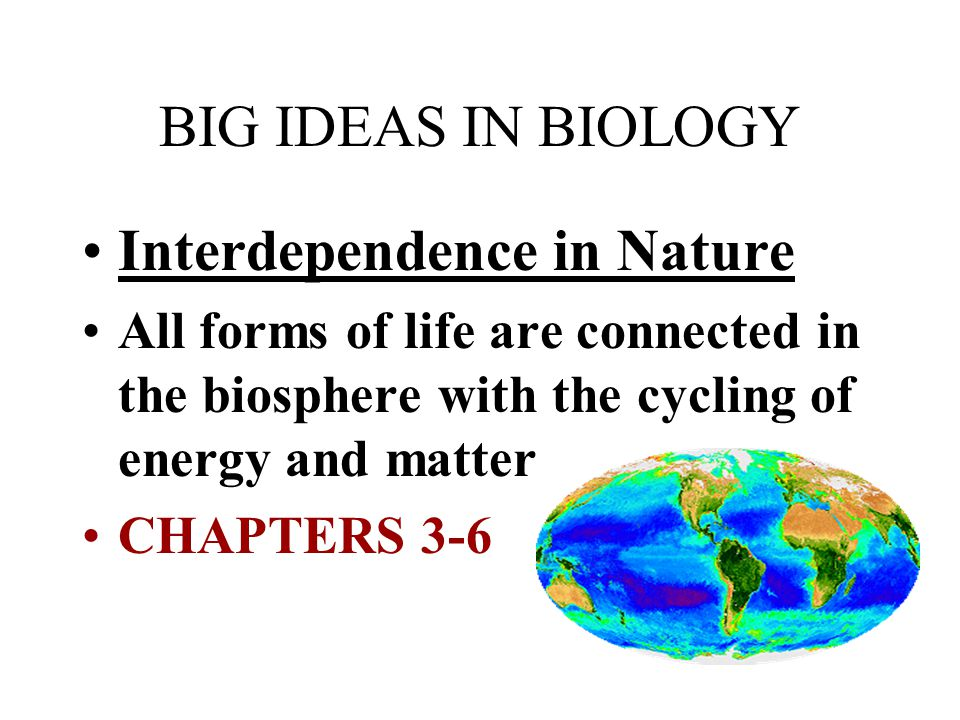 BIG IDEAS IN BIOLOGY Interdependence in Nature All forms of life are connected in the biosphere with the cycling of energy and matter CHAPTERS 3-6