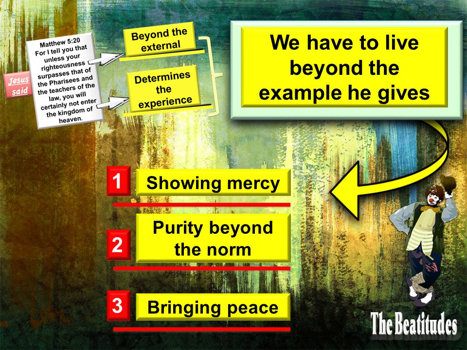 We have to live beyond the example he gives 1 2 3 Showing mercy Purity beyond the norm Bringing peace