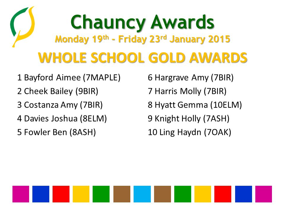 Chauncy Awards Monday 19 th - Friday 23 rd January 2015 YEAR THIRTEEN SILVER AWARDS None this week
