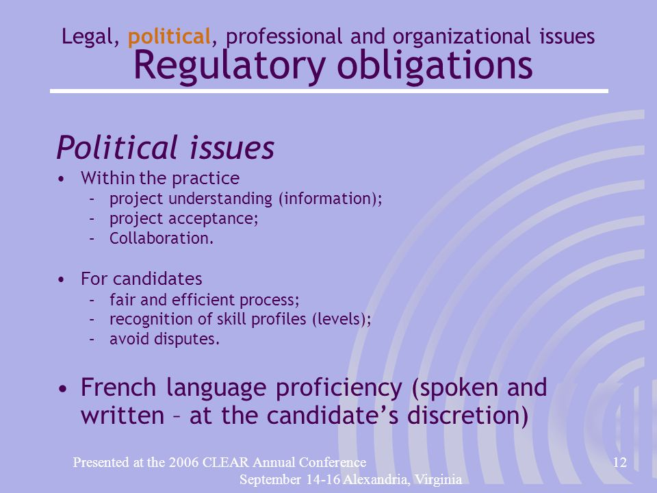 Presented at the 2006 CLEAR Annual Conference12 September 14-16 Alexandria, Virginia Legal, political, professional and organizational issues Regulatory obligations Political issues Within the practice –project understanding (information); –project acceptance; –Collaboration.
