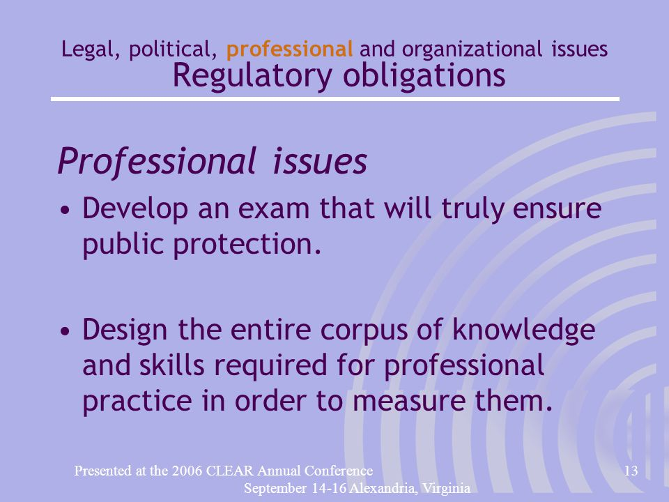 Presented at the 2006 CLEAR Annual Conference13 September 14-16 Alexandria, Virginia Legal, political, professional and organizational issues Regulatory obligations Professional issues Develop an exam that will truly ensure public protection.