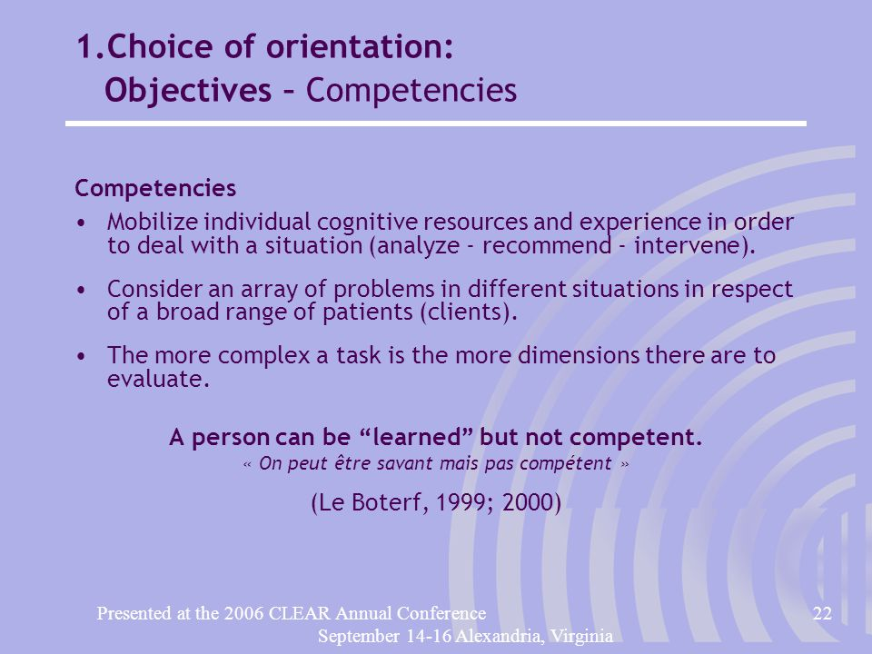 Presented at the 2006 CLEAR Annual Conference22 September 14-16 Alexandria, Virginia 1.Choice of orientation: Objectives – Competencies Competencies Mobilize individual cognitive resources and experience in order to deal with a situation (analyze - recommend - intervene).