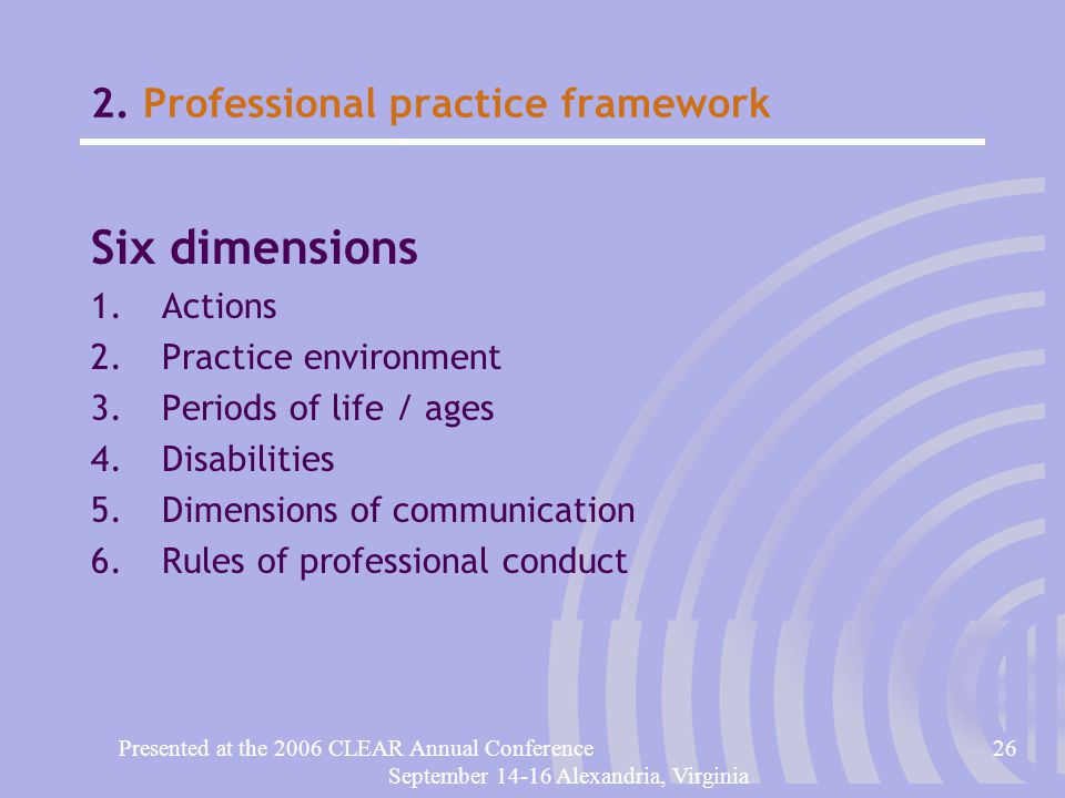 Presented at the 2006 CLEAR Annual Conference26 September 14-16 Alexandria, Virginia 2.