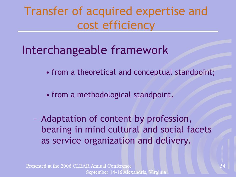 Presented at the 2006 CLEAR Annual Conference54 September 14-16 Alexandria, Virginia Transfer of acquired expertise and cost efficiency Interchangeable framework from a theoretical and conceptual standpoint; from a methodological standpoint.