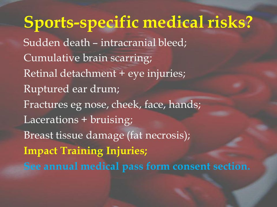 Sports-specific medical risks.