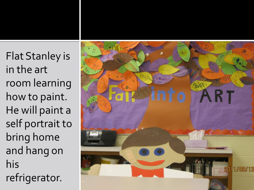 Flat Stanley is in the art room learning how to paint.