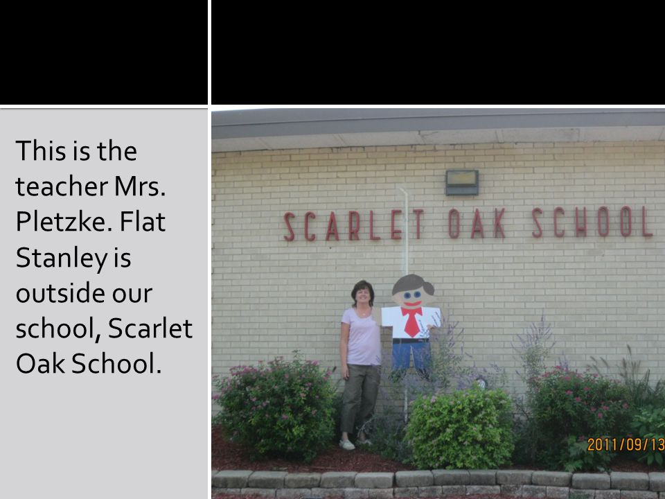 This is the teacher Mrs. Pletzke. Flat Stanley is outside our school, Scarlet Oak School.