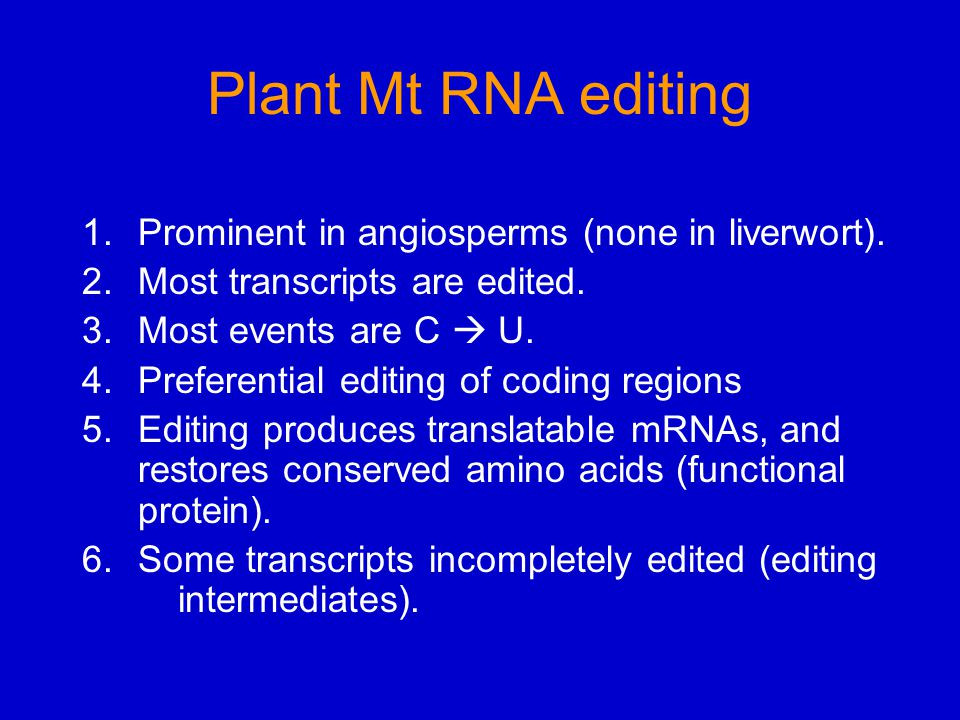 Plant Mt RNA editing 1.Prominent in angiosperms (none in liverwort).