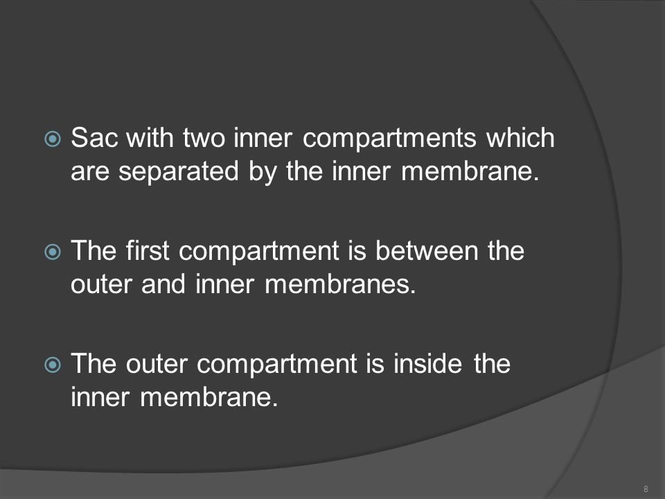  Sac with two inner compartments which are separated by the inner membrane.  The first compartment is between the outer and inner membranes.  The o