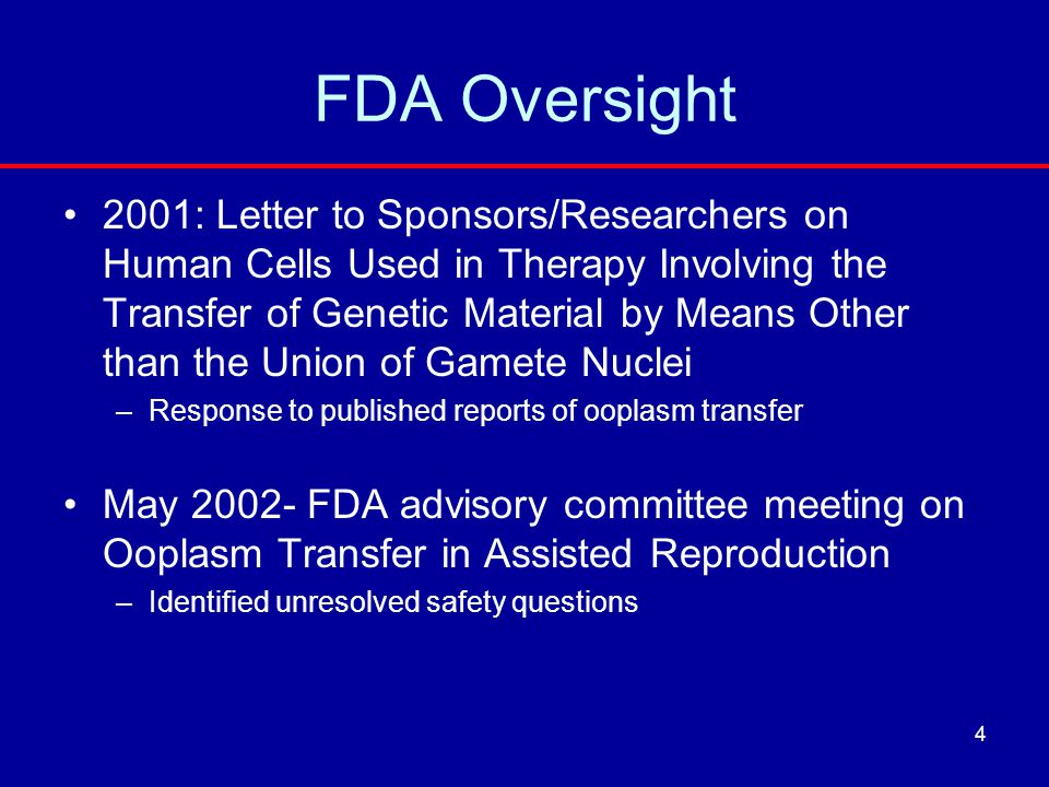 FDA Oversight 2001: Letter to Sponsors/Researchers on Human Cells Used in Therapy Involving the Transfer of Genetic Material by Means Other than the U