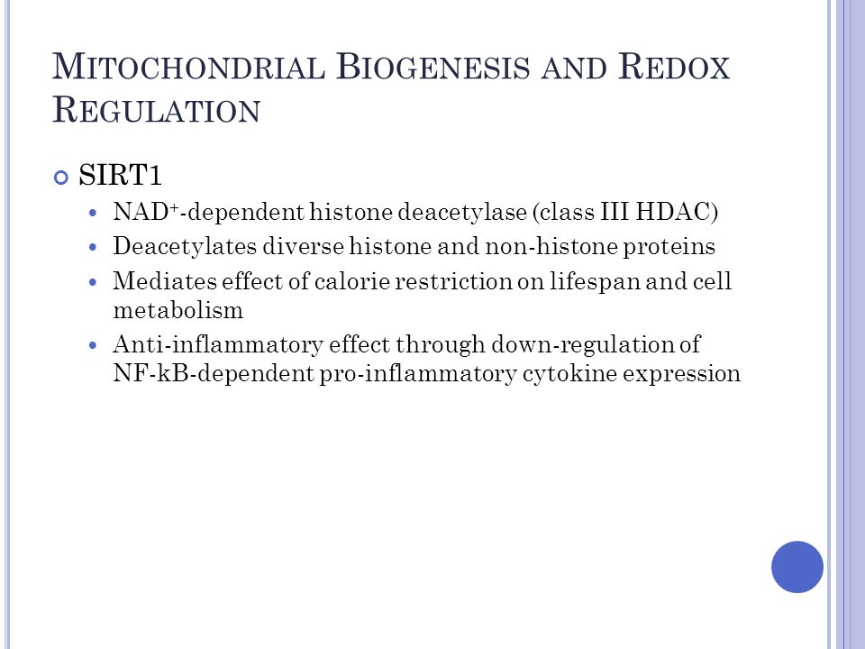 M ITOCHONDRIAL B IOGENESIS AND R EDOX R EGULATION SIRT1 NAD + -dependent histone deacetylase (class III HDAC) Deacetylates diverse histone and non-histone proteins Mediates effect of calorie restriction on lifespan and cell metabolism Anti-inflammatory effect through down-regulation of NF-kB-dependent pro-inflammatory cytokine expression