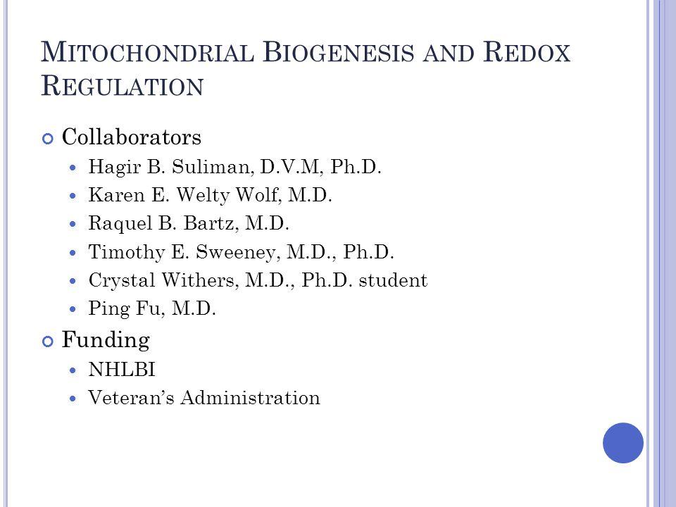M ITOCHONDRIAL B IOGENESIS AND R EDOX R EGULATION Collaborators Hagir B.