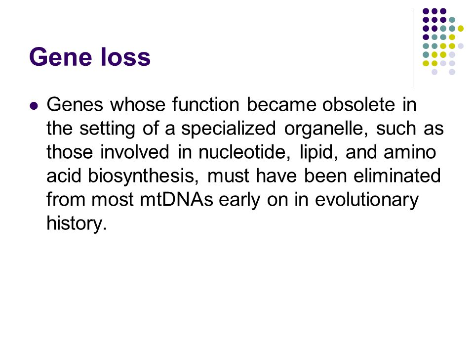 Gene loss Genes whose function became obsolete in the setting of a specialized organelle, such as those involved in nucleotide, lipid, and amino acid biosynthesis, must have been eliminated from most mtDNAs early on in evolutionary history.