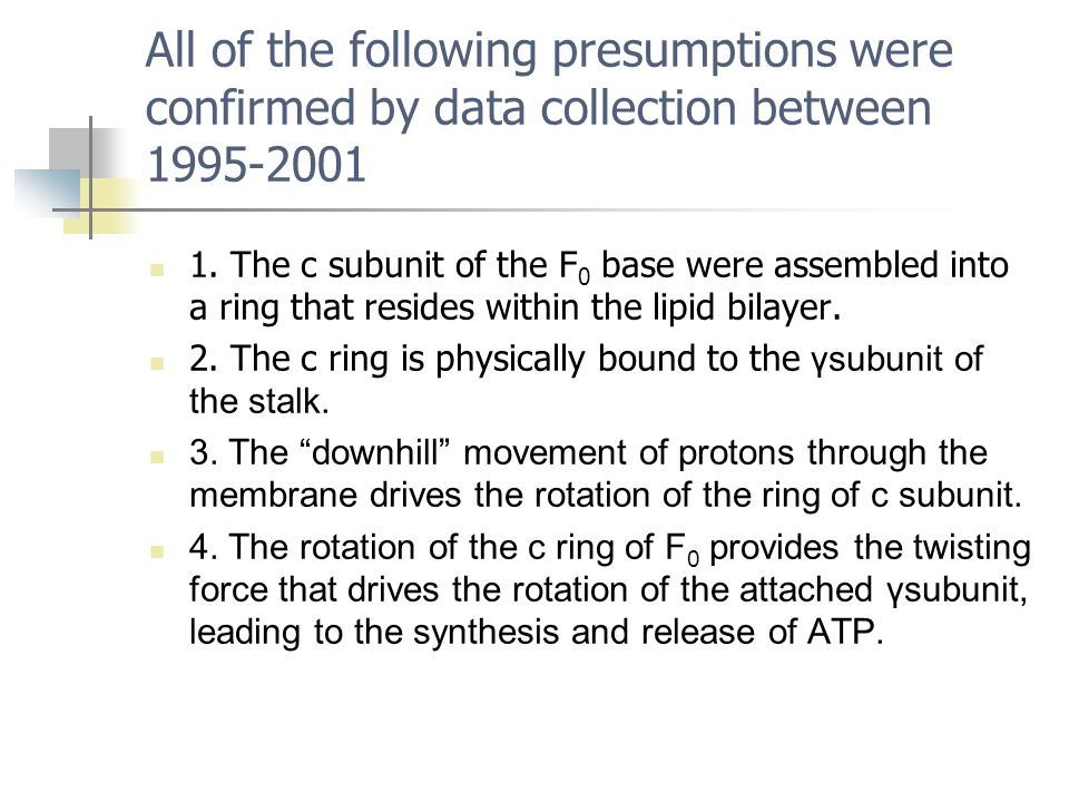 All of the following presumptions were confirmed by data collection between 1995-2001 1. The c subunit of the F 0 base were assembled into a ring that