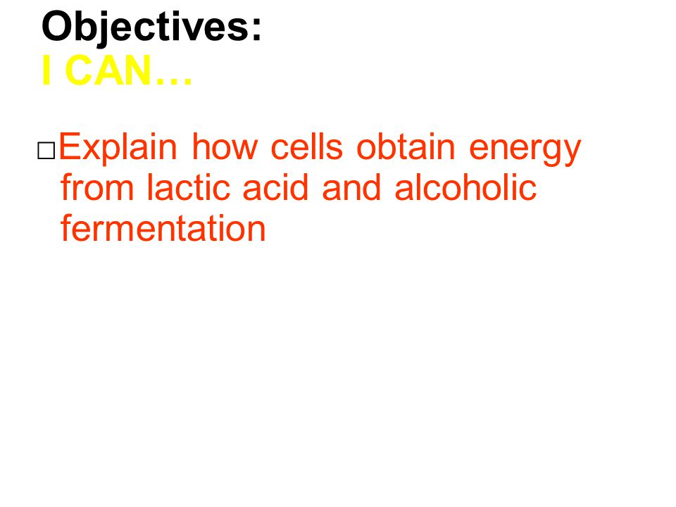 Objectives: I CAN… □Explain how cells obtain energy from lactic acid and alcoholic fermentation