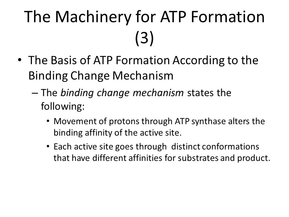 The Machinery for ATP Formation (3) The Basis of ATP Formation According to the Binding Change Mechanism – The binding change mechanism states the fol