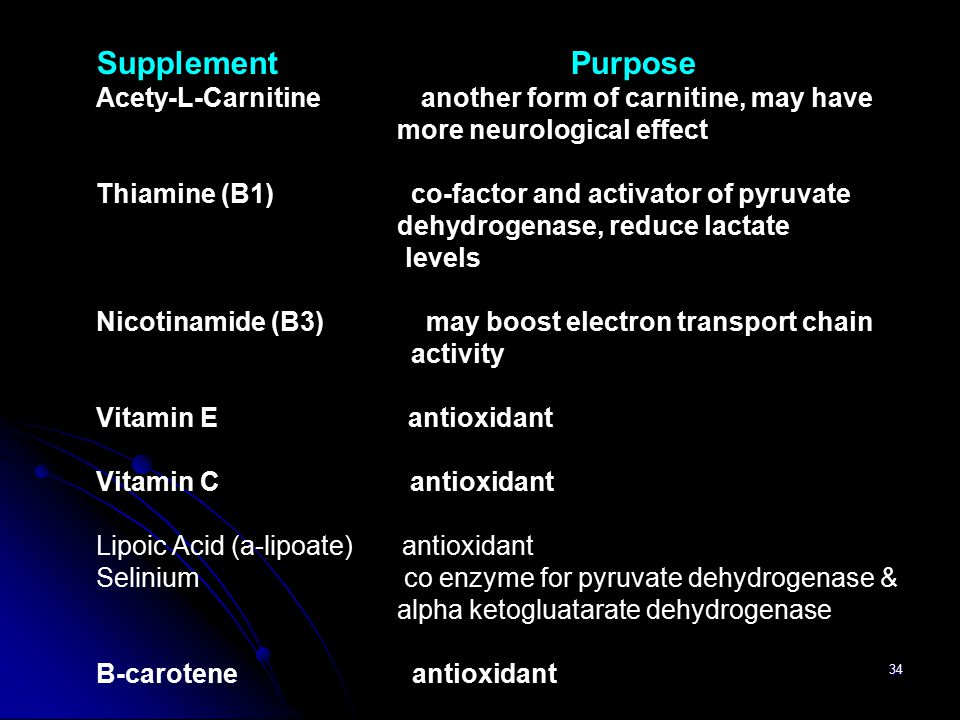 34 Supplement Purpose Acety-L-Carnitine another form of carnitine, may have more neurological effect Thiamine (B1) co-factor and activator of pyruvate
