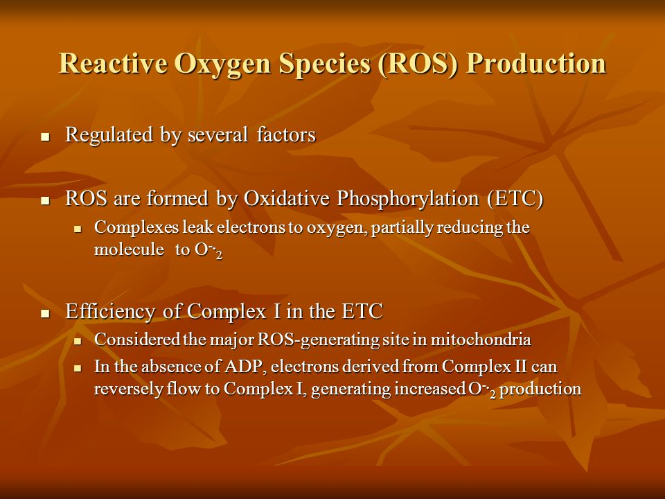 Reactive Oxygen Species (ROS) Production Regulated by several factors Regulated by several factors ROS are formed by Oxidative Phosphorylation (ETC) ROS are formed by Oxidative Phosphorylation (ETC) Complexes leak electrons to oxygen, partially reducing the molecule to O -.