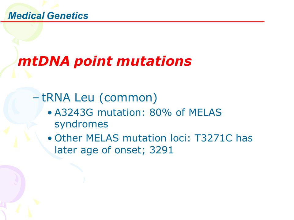 Medical Genetics mtDNA point mutations –tRNA Leu (common) A3243G mutation: 80% of MELAS syndromes Other MELAS mutation loci: T3271C has later age of onset; 3291