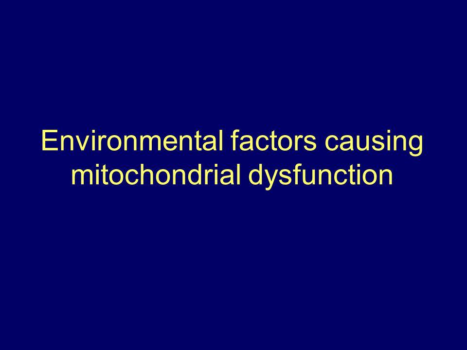 Environmental factors causing mitochondrial dysfunction