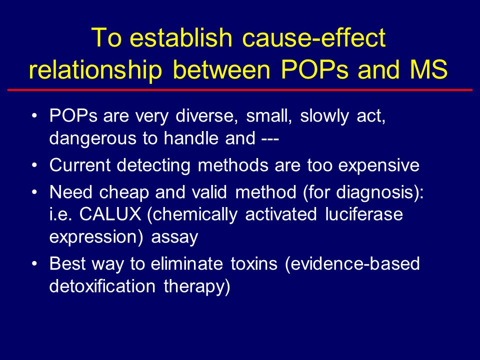 To establish cause-effect relationship between POPs and MS POPs are very diverse, small, slowly act, dangerous to handle and --- Current detecting methods are too expensive Need cheap and valid method (for diagnosis): i.e.