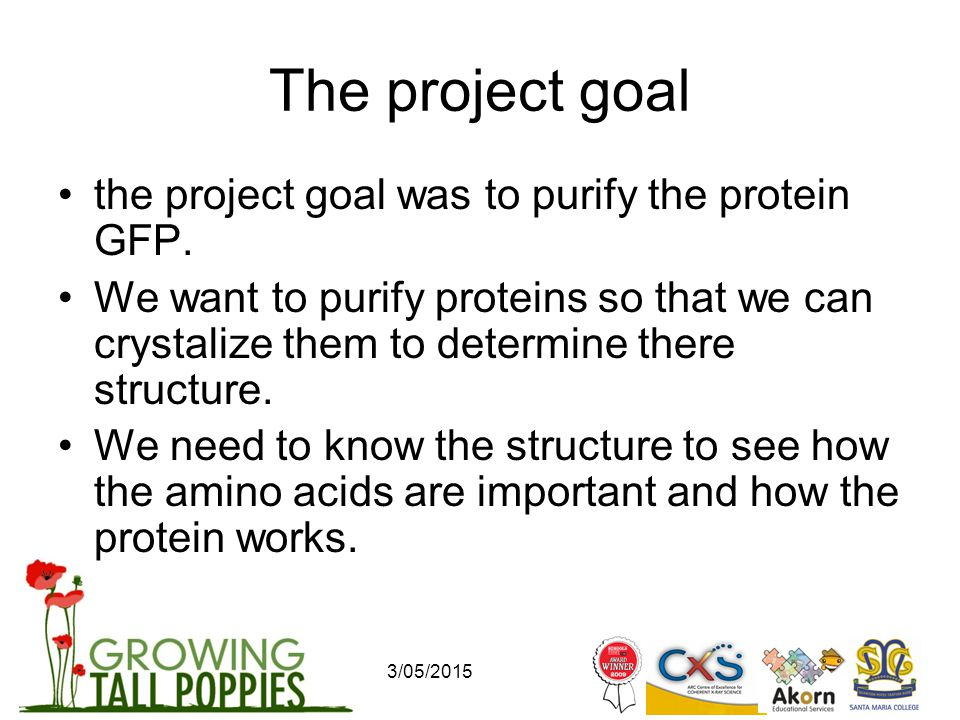 3/05/2015 The project goal the project goal was to purify the protein GFP.