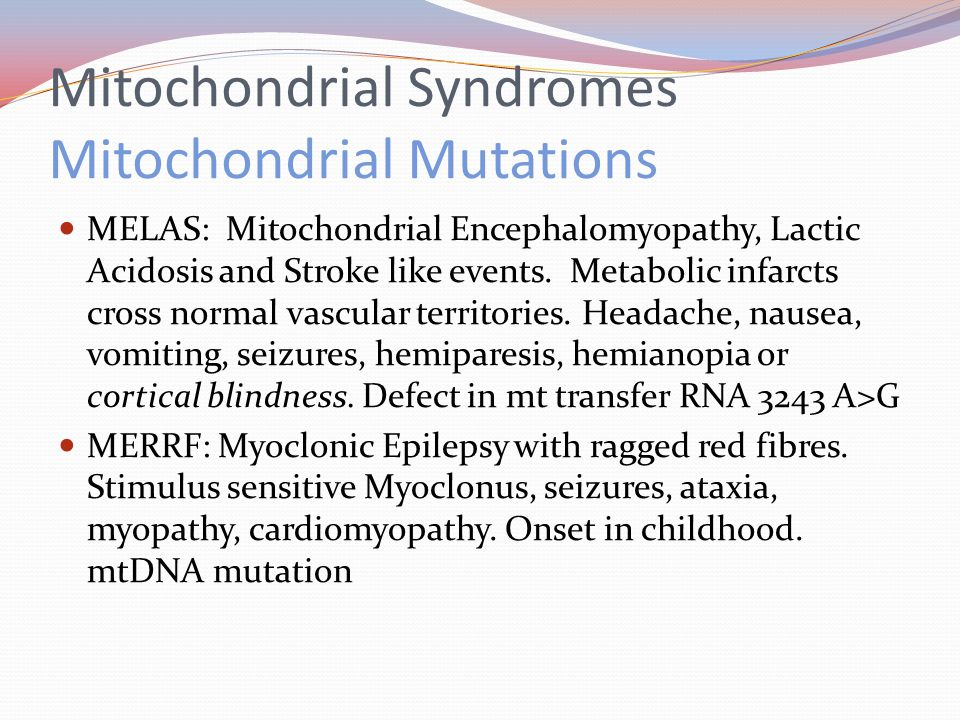 Mitochondrial Syndromes Mitochondrial Mutations MELAS: Mitochondrial Encephalomyopathy, Lactic Acidosis and Stroke like events.