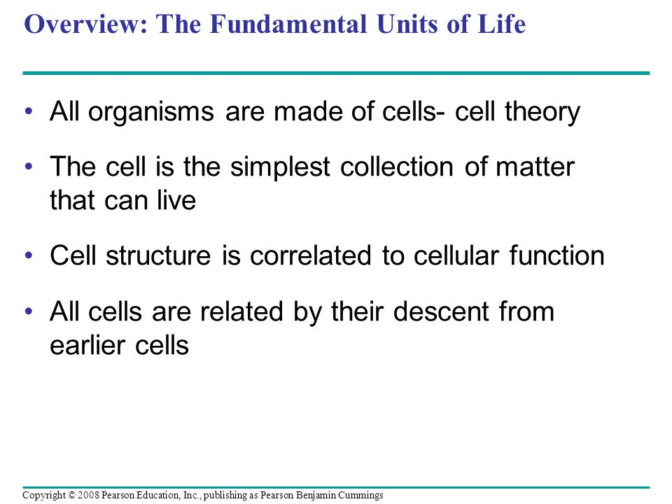 Overview: The Fundamental Units of Life All organisms are made of cells- cell theory The cell is the simplest collection of matter that can live Cell