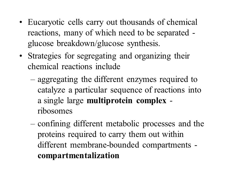 Eucaryotic cells carry out thousands of chemical reactions, many of which need to be separated - glucose breakdown/glucose synthesis.
