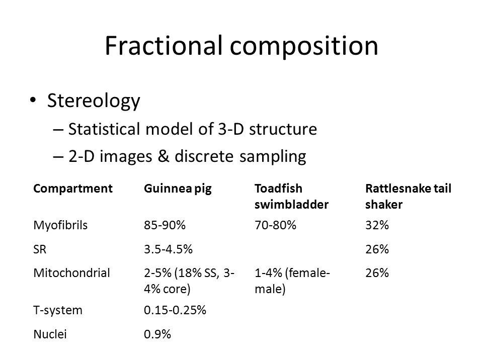 Fractional composition Stereology – Statistical model of 3-D structure – 2-D images & discrete sampling CompartmentGuinnea pigToadfish swimbladder Rat
