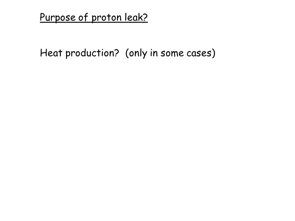 Purpose of proton leak? Heat production? (only in some cases)