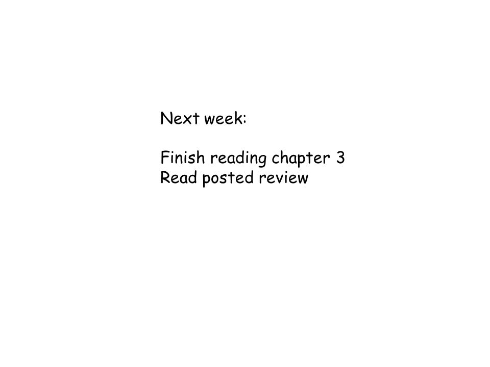 Next week: Finish reading chapter 3 Read posted review