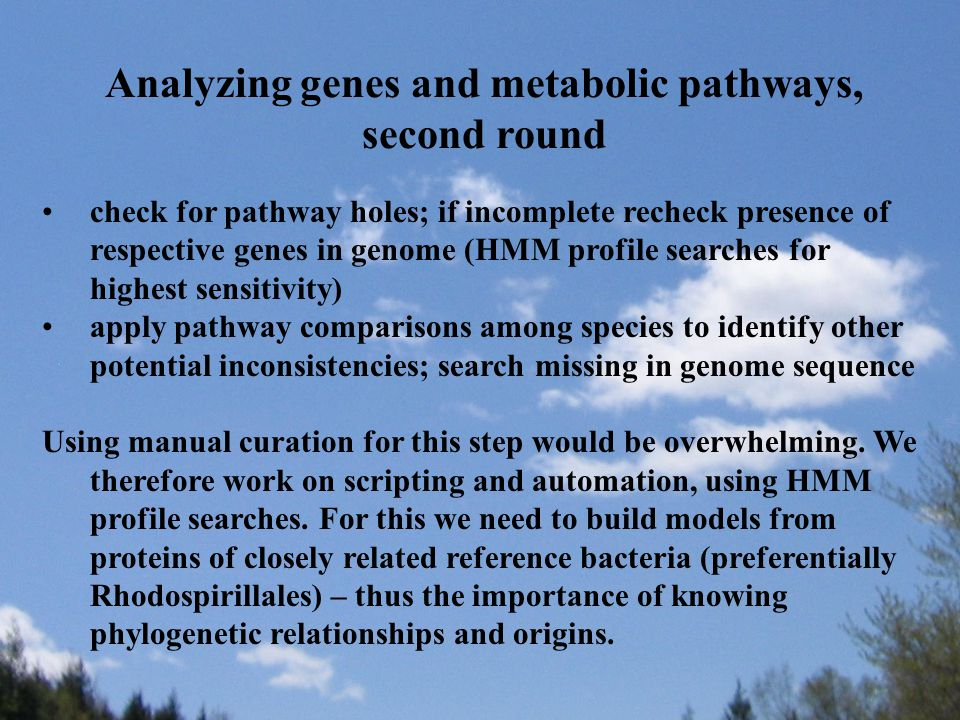 Analyzing genes and metabolic pathways, second round check for pathway holes; if incomplete recheck presence of respective genes in genome (HMM profile searches for highest sensitivity) apply pathway comparisons among species to identify other potential inconsistencies; search missing in genome sequence Using manual curation for this step would be overwhelming.