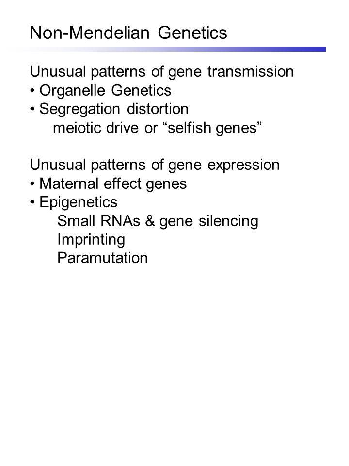 "Non-Mendelian Genetics Unusual patterns of gene transmission Organelle Genetics Segregation distortion meiotic drive or ""selfish genes"" Unusual patter"