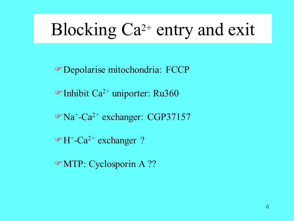 6 Blocking Ca 2+ entry and exit  Depolarise mitochondria: FCCP  Inhibit Ca 2+ uniporter: Ru360  Na + -Ca 2+ exchanger: CGP37157  H + -Ca 2+ exchan