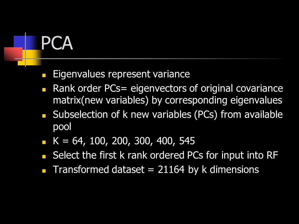 PCA Eigenvalues represent variance Rank order PCs= eigenvectors of original covariance matrix(new variables) by corresponding eigenvalues Subselection
