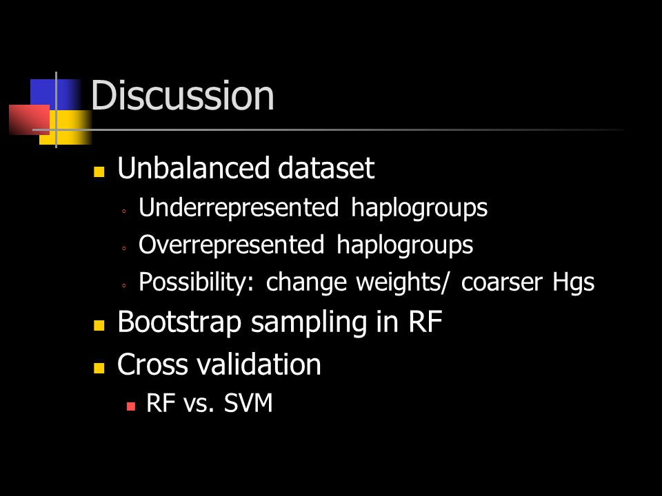 Discussion Unbalanced dataset ◦ Underrepresented haplogroups ◦ Overrepresented haplogroups ◦ Possibility: change weights/ coarser Hgs Bootstrap sampling in RF Cross validation RF vs.