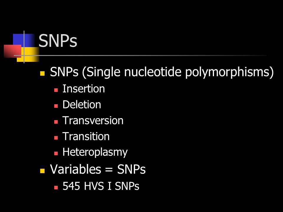 SNPs SNPs (Single nucleotide polymorphisms) Insertion Deletion Transversion Transition Heteroplasmy Variables = SNPs 545 HVS I SNPs