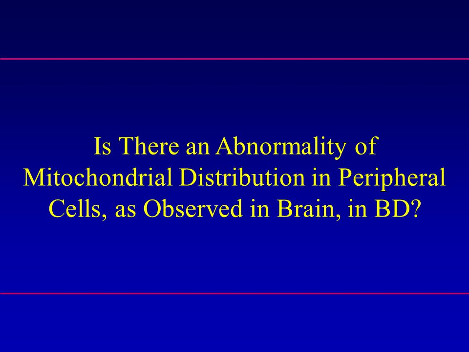 Is There an Abnormality of Mitochondrial Distribution in Peripheral Cells, as Observed in Brain, in BD?