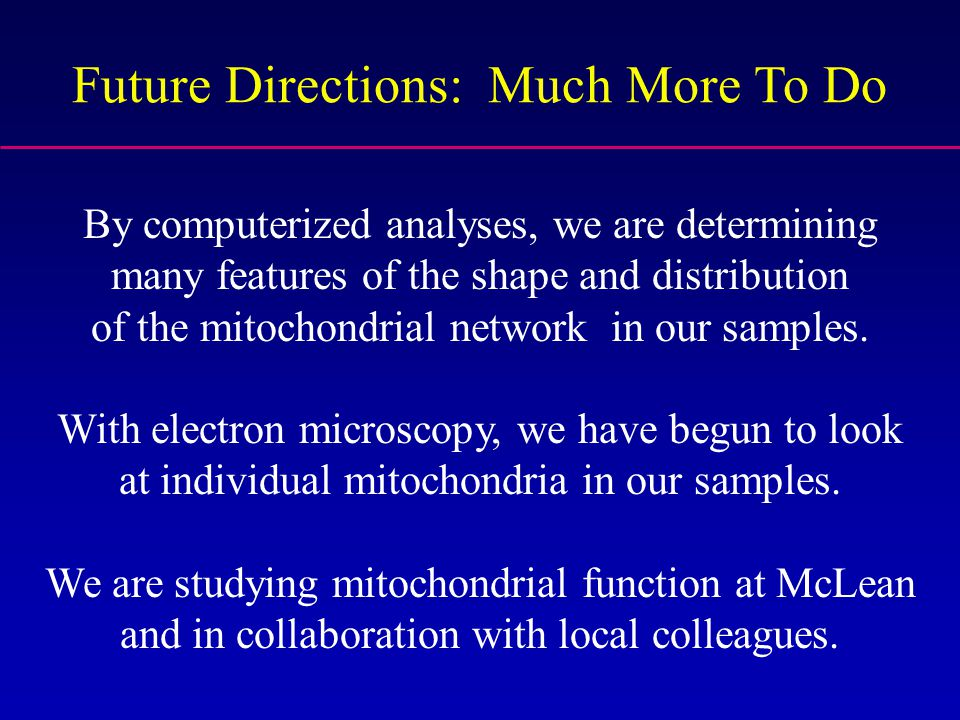 Future Directions: Much More To Do By computerized analyses, we are determining many features of the shape and distribution of the mitochondrial netwo