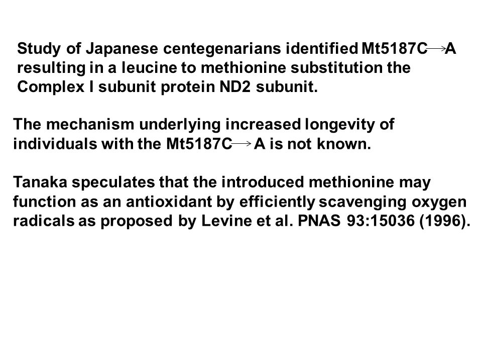 The mechanism underlying increased longevity of individuals with the Mt5187C A is not known.